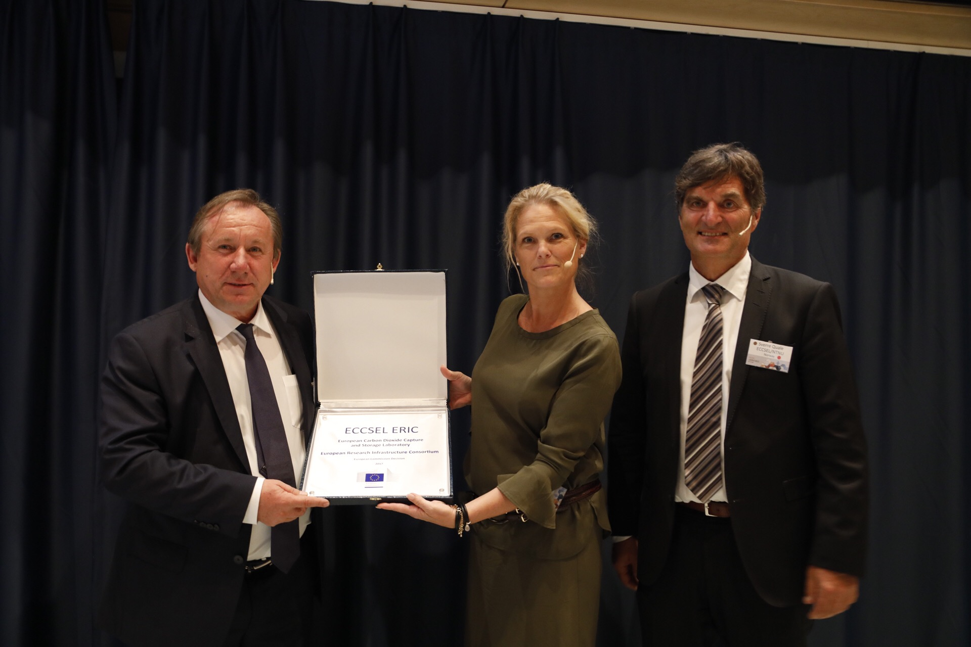 ECCSEL ERIC inauguration, Trondheim, June 12th 2017  From the left: Wolfgang Burtscher, Deputy Director-General of the European Commission's Directorate-General for Research & Innovation, Ingvil Smines Tybring-Gjedde, State Secretary in the Ministry of Petroleum and Energy, Sverre Quale, ECCSEL ERIC director.  Photo: Thor Nielsen/NTNU